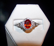 Orange sapphire & diamond ring set